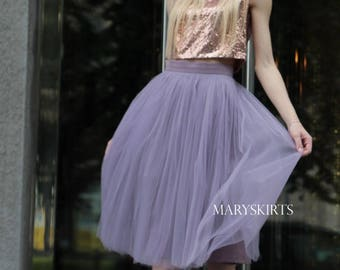 """Tulle skirt with matching lining, fixed waistband with hidden zipper (color 60 """"Purple"""")"""