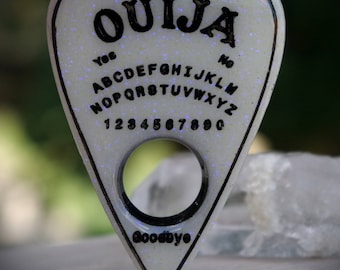 Glow In the Dark Ouija Spirit Board Inspired Planchette Hand Made Resin Necklace