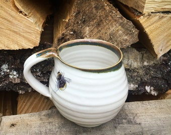 Pottery bee mug stoneware cup Ceramic handthrown