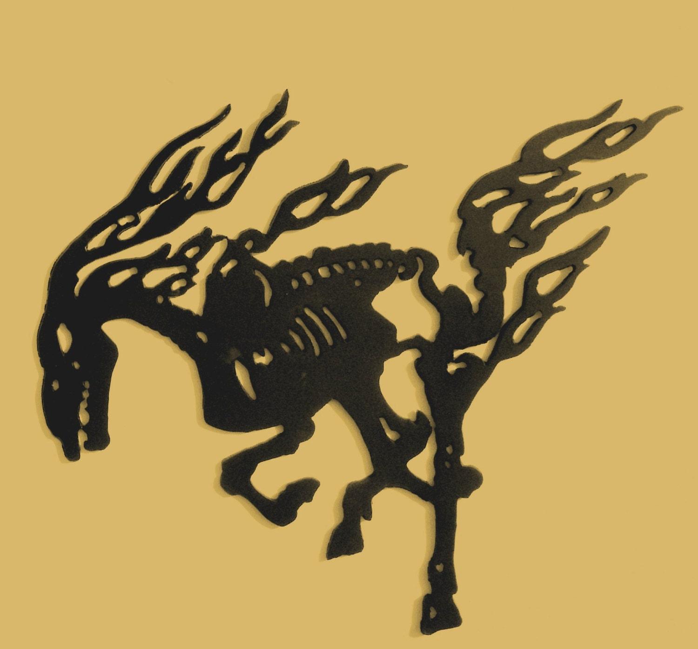 Skeletal Horse Metal Art Gothic Skeleton Wall decor