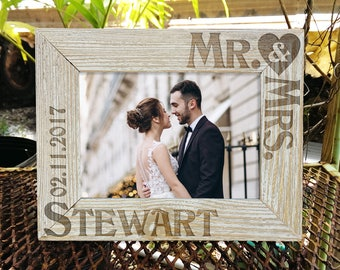 Personalized Mr & Mrs Picture Frame Wedding Gift for Newlywed Couple Custom Engraved Rustic Wood Frame Personalized with Last Name  Date