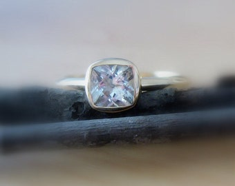"Moissanite ""Forever One"" 14K Gold 6mm Cushion Cut Gemstone 14K Gold, Conflict Free, Made to Order, yellow, white, rose gold"