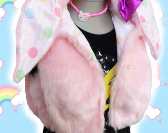 PINK pastel polka dot BUNNY cropped sleeveless furry HOODIE with ears