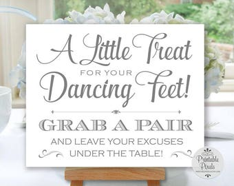 Grey Printable Dancing Shoes Sign, Wedding Sign, Little Treat For Your Dancing Feet, Flip Flops Sign (#DA12A)