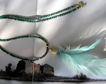 Green Chrysocolla Long necklace with light green feathers - Rosary style -Emerald forest