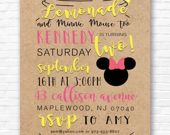 Mason Jar Lemonade Invitations Kraft Paper