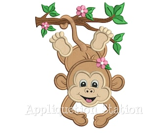 Zoo Baby Monkey Hanging Branch Girl Applique Machine Embroidery Design Jungle Safari Boy Cute animal INSTANT DOWNLOAD