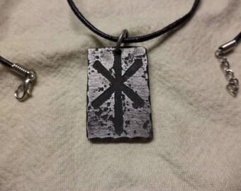 Etched Aluminum Hagal Rune