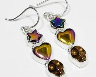 "Sterling Silver Titanium Druzy Earrings, Silver Earrings, Titanium, Druzy,Heart,Skull,Star .925 Sterling Silver Earrings 2""x0.3"" (With Hook)"