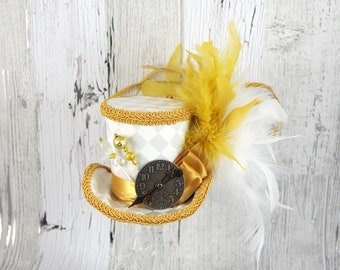 White Harlequin and Gold Steampunk Medium Mini Top Hat Fascinator, Alice in Wonderland, Mad Hatter Tea Party, Derby Hat