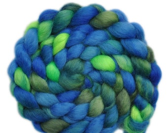 Hand painted wool roving - Teeswater combed top spinning fiber - 3.8 ounces - From Pond to Pond