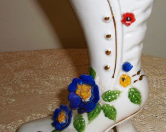 Victorian High top boot/shoe, Shabby cottage chic high top shoe, makeup brush holder,FREE shipping, pen or pencil holder,vase with flowers