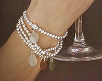 Sea glass bracelet.Silver beaded bracelet.Sea glass charm.gift for her under 15.silver bracelet.boho bracelet.boho jewellery.handmade in uk