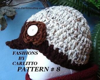 Crochet PATTERN  hat, Number 8, Adult newsboy visor cap, beginner level, instant download