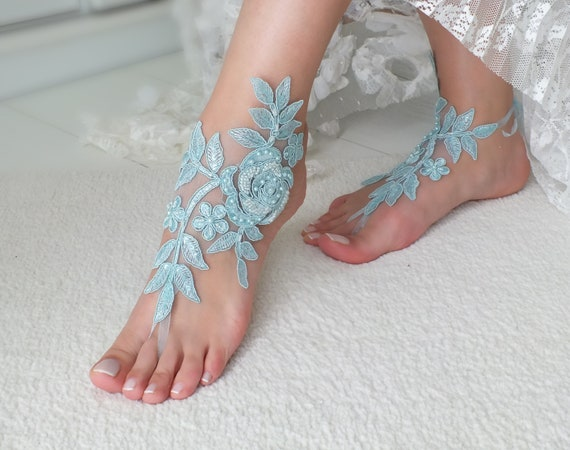 something sandals blue Wedding Bridal wedding foot Bridal barefoot Beach Wedding sandals barefoot Gift lace jewelry anklet sandals pY6XYfxnw