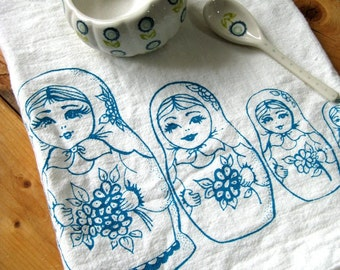Tea Towel - Screen Printed Flour Sack Towel - Soft and Absorbent Kitchen Towel - Eco Friendly Cotton Towel - Nesting Dolls - Mid Century
