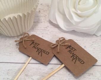 Handmade Just Married Cupcake Flags