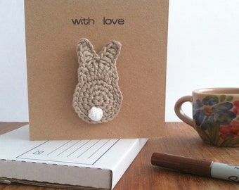Card with Bunny Brooch / New Baby New Mum Pregnancy Shower Easter Spring Pastels Bunny Rabbit / Recycled Organic