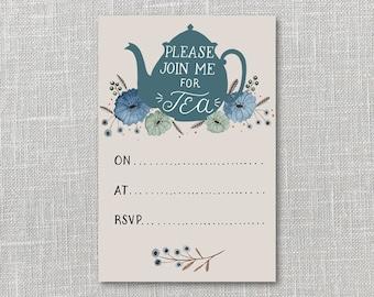 Tea Party Invitation Printable Instant Download PDF