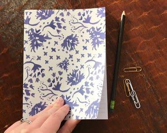 Indigo Floral Toss Notebook 6x8