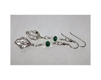 ww1368 - EMERALD & HERKIMER DIAMOND Wirewrap Earrings - Argentium Sterling Silver