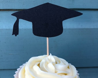 Graduation pack of 12 cupcake toppers