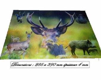 Beautiful cutting board with wild boar, deer, ect