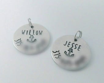 Pet ID Tag - Personalized dog tag - Custom tag - custom pet tag - Hand stamped pet tag