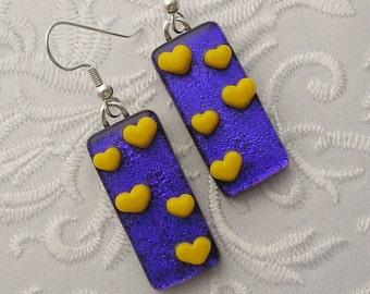Heart Jewelry - Valentine Earrings - Dichroic Fused Glass Earrings - Heart Earrings - Stick Earrings - Heart - Blue Earrings X3548