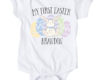 Bunny Shirt, My First Easter, Personalized, Boy Easter Shirt, Boy Easter Shirt, My First Easter shirt, Bunny Shirt, Boy Easter outfit,