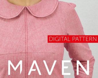 The Kitty Dress PDF sewing pattern, DIGITAL DOWNLOAD, dress sewing pattern, womens sewing pattern, pdf pattern, peter pan collar, pdf dress