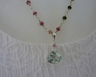 Necklace, tourmaline & green amethyst, fine jewelry, sterling silver, artisan quality, handmade