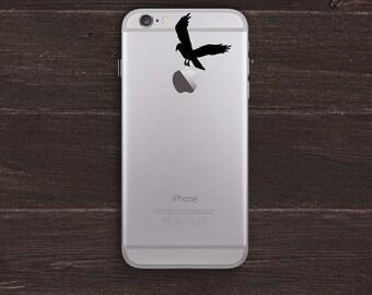 Crow Apple Vinyl iPhone Decal BAS-0232