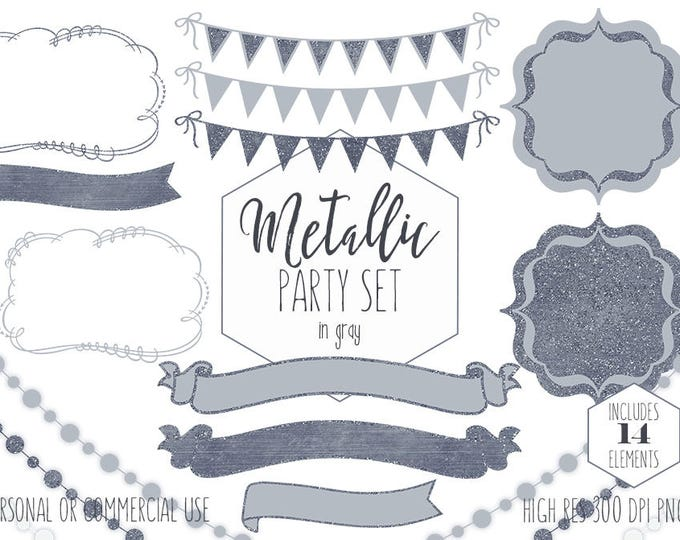 GRAY PARTY CLIPART Commercial Use Clip Art Silver Glitter Bunting Banners & Frames Birthday Graduation Wedding Invitation Digital Graphics