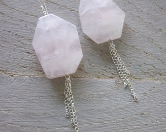 Sjans sterling silver earrings with large rosequartz stones & chain