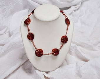 Necklace polymer clay, flat beads, red and brown tones