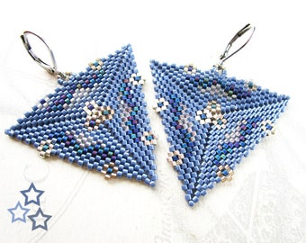 Woven triangle earrings, blue denim and silver tone flowers
