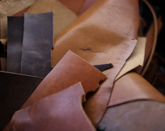 Horween Leather Scraps | Full Grain Leather Remnants | Leathercraft supplies for Leather Projects | Leather Scraps by the Pound