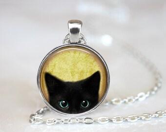 Black Cat Glass Pendant, Photo Glass Necklace, Glass Keychain