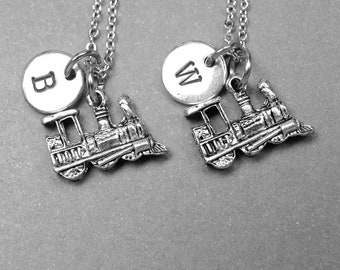 Best friend necklace, train necklace, train charm, BFF necklace, friendship jewelry, best friend gift, personalized necklace, monogram