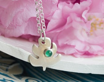 Monstera leaf necklace with emerald cabochon, May birthstone