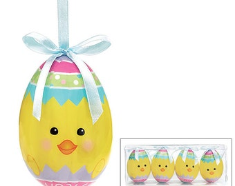 "burton+Burton 3 3/4""H Yellow Chick Easter Egg Ornament""s-Set of 4/Wreath Supplies/Easter Decor/9724190"