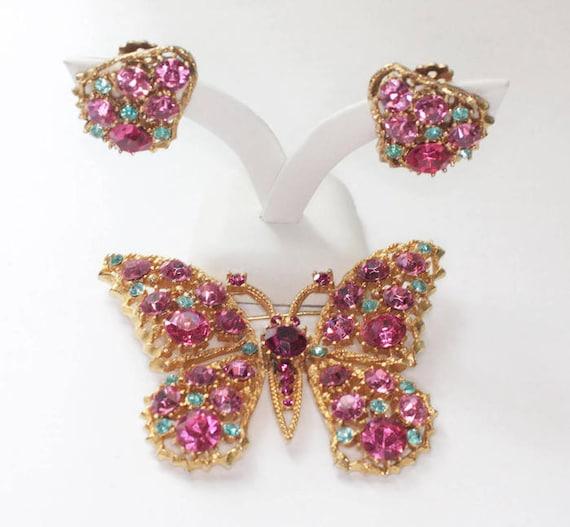 Weiss Rhinestone Butterfly Brooch Earrings Pink Blue Gold Tone Vintage