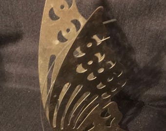 Vintage Butterfly Brass Wall Hanging 1970's Decor Cottage Chic Butterflies SALE PRICE was 9.99 now 5.99