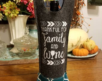 Thankful for Wine Tote - Turquoise