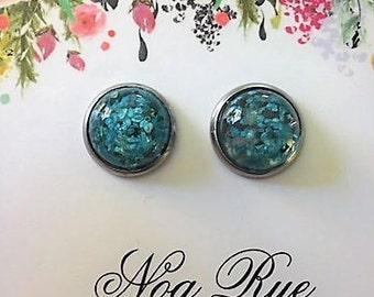 Blue Glitter Glass 12mm Stud Earrings