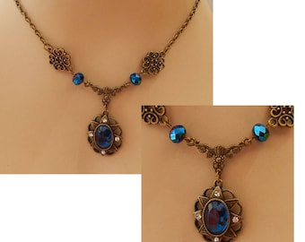 Gold & Blue Pendant Necklace Jewelry Handmade NEW Chain Accessories Fashion Statement