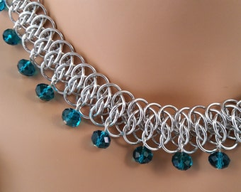 Viperscale Chainmaille Necklace with Teal Crystals, Chainmaille necklace, Chainmail necklace, Chain mail necklace, chain maille necklace