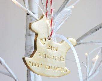 Baby Shower Gift - Baby's First Christmas Rocking Horse Ornament - Personalized New Baby Gift - Baby's First Ornament - Clay Horse Ornament