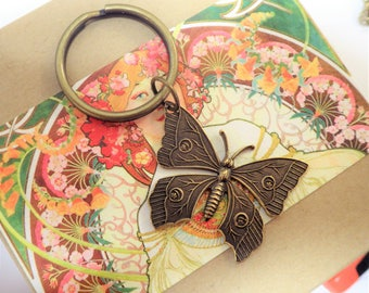 Butterfly KeyChain ~ Metal Brass ~ Key Chain Ring ~ Antiqued ~ by LadyofTheLakeJewels